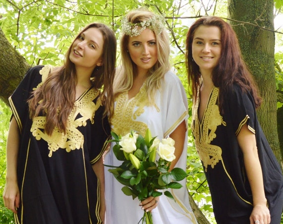Set of 6 Bridesmaid robes,Bridesmaid gifts, Black Gold Marrakech One Size Moroccan Kaftan-Beach wedding, bridal shower party, baby shower