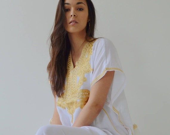 Hopsital Kaftan Gown, Caftan, Stay Home Lounge Kaftan- White with Gold Embroidery, Surgery Recovery Kaftan, Recovery Gift, Hospital Kaftan