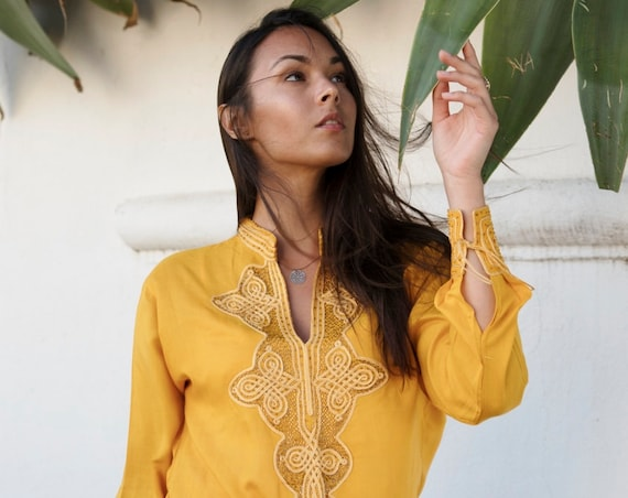 Spring Spring  Tunic Kaftan /Dark Yellow  Moroccan Tunic- shirt, resort wear wear, beach wear, handmade tunic, dress,,,Ramadan,Easter