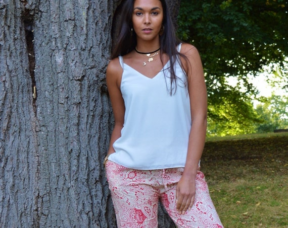 Red Winter Print Marrakech Yoga Pants-great for yoga retreats, yoga wear, resortwear, loungewear, beachwear, beach pants, harlem pants