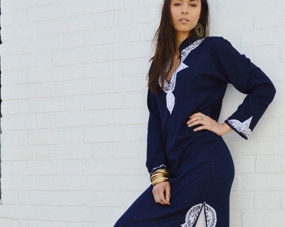 Dress Salma Style Navy Blue Caftan Kaftan- loungewear,resortwear, beach cover up, Wedding, Birthday, Bridesmaid gifts