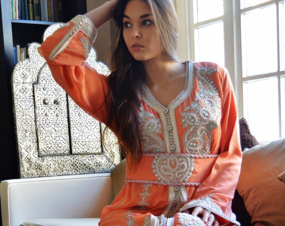 Spring Spring  Moroccan Modern Salmon Pink Embroidery Caftan Kafan-Kalia-moroccan parties, weddings,abbayas,dress,,,Ramadan,Easter