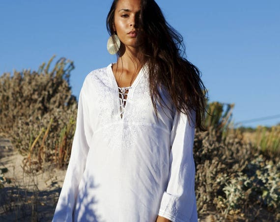 Spring White Tunic Embroidered Dress-Karmia's Syle,  gifts, beach, resort, holiday, bohemian wear, boho, Moroccan, , Eid,, dress