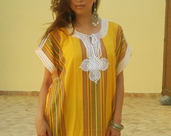 Resort Caftan Bedoin Style- Yellow, Moroccan kaftan, caftan, bohemian wear, resort wear, beach cover up, Ramadan, Eid