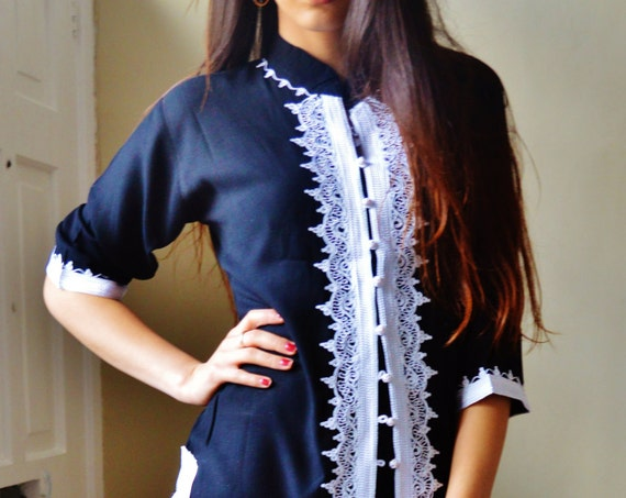 10% Sale// Navy Blue and White Moroccan Tunic-perfect for  gifts, holiday wear, casual wear, mother's day, Eid,,winter sale,boxing day sale