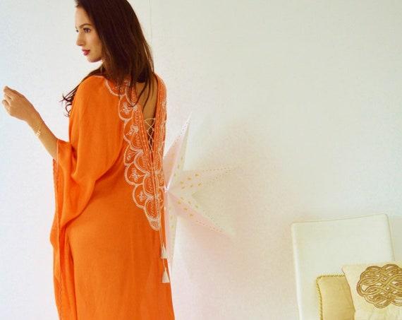 Holiday Orange Agadir Embroidery Beach Wedding Caftan Kaftan -cover ups,beach wedding,maxi dresses,honeymoon, maternity gifts, gifts for her
