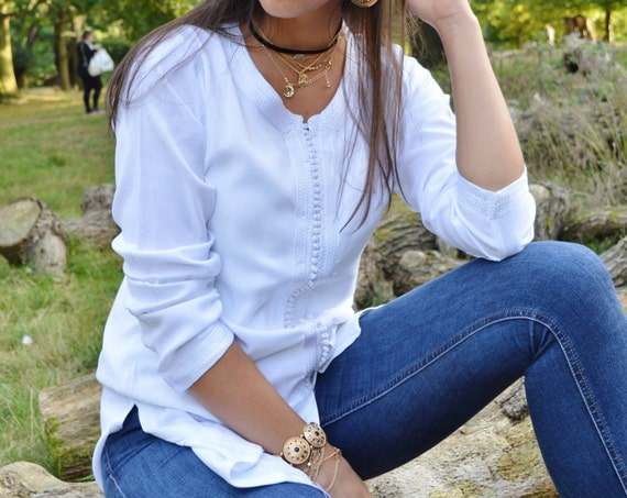 Magrib Style White Shirt -Christmas gifts, casualwear, loungewear, as birthday, honeymoon gifts for her, resortwear, bohemian,Spring sale