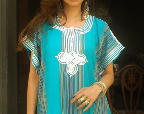 Resort Caftan Kaftan Bedoin -Turquoise- as loungewear,as beachwear, beach cover ups, resort wear, gift  moms, Ramadan, Eid,beach kaftan