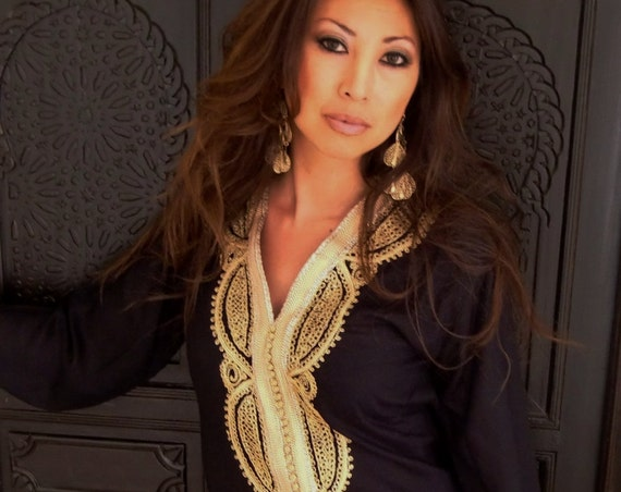 Black Moroccan Caftan Kaftan -Lella  Style -Luxury loungewear, traditional abayas, resortwear, Birthdays or Maternity Gifts,summer dress