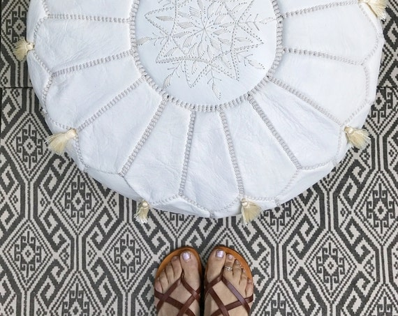 Spring White Moroccan Leather Pouf with Tassels & Pompoms -Home gifts, wedding gifts,birthday gifts, ottoman,  decor,  gifts