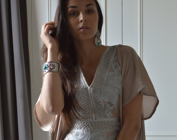 Kaftan, Beige Caftan Resortwear with Grey Embroidery -loungewear,resortwear, Birthdays, Honeymoon gifts,summer dress,beach kaftan