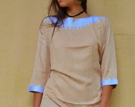 Autumn Winter Beige Resort Tunic Dress Reina Style-christmas gifts, Birthdays gifts, resort wear, party, Moroccan Dress, boho dress