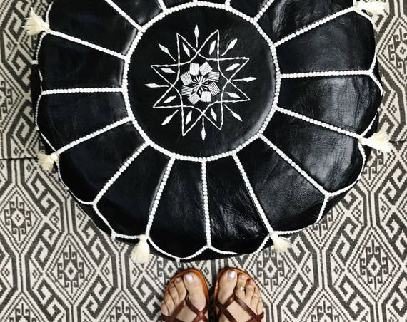 30% OFF Pouf Sale>> Black White Stitching Moroccan Leather Pouf with Tassels & Pompoms >>  Home gifts, wedding gifts, , Eid,,Autumn dress