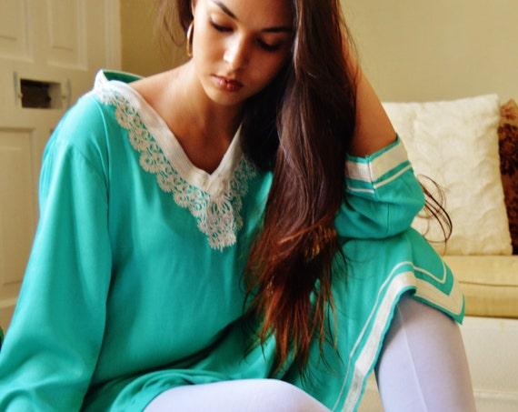 Summer Leila Light Green Bohemian Caftan Kaftan -loungewear,resortwear,  Mothers day gift,  or Maternity Gifts, , Eid,,summer dress,, lounge