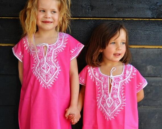 Spring Kids Pink Marwa Resortwear Caftan Kaftan- holiday, beach cover up, resortwear,abaya, lounge wear, playsuit  kids,  kaftan,Easter