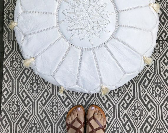 Winter 30% OFF WINTER SALE // White Moroccan Leather Pouf Tassels & Pompoms >> for Home gifts, wedding gifts, gifts, ottoman,winter sale