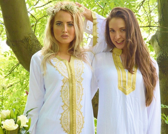 Spring Spring Spring Set of 2 White gold Moroccan caftan-Bride & Bridesmaid, , Eid,, gifts,,,s,