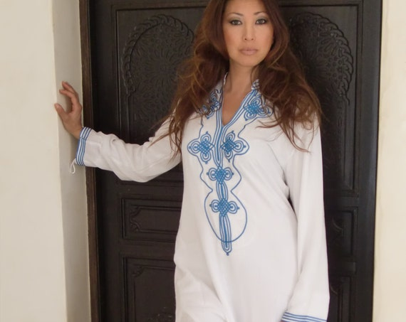 Kaftan White Moroccan Caftan Kaftan Dress - Bedouin Style-loungewear ,resortwear,spa robe, for Birthdays or Maternity Gifts, beach wedding