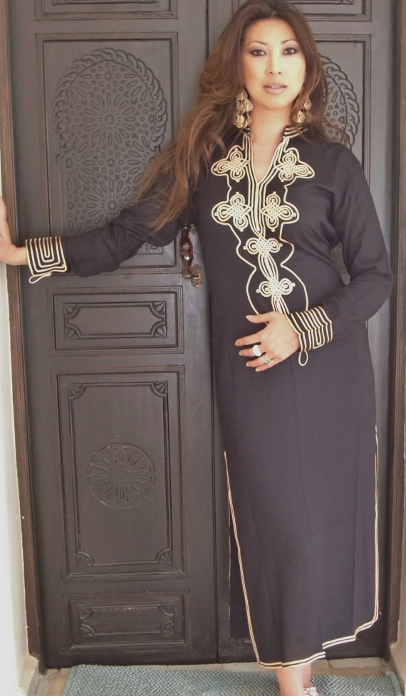 Black Moroccan Caftan Kaftan- Aisha-loungewear,resortwear,spa robe, Birthdays, Honeymoon, Maternity Gifts, Moroccan kaftan, Ramadan, Eid