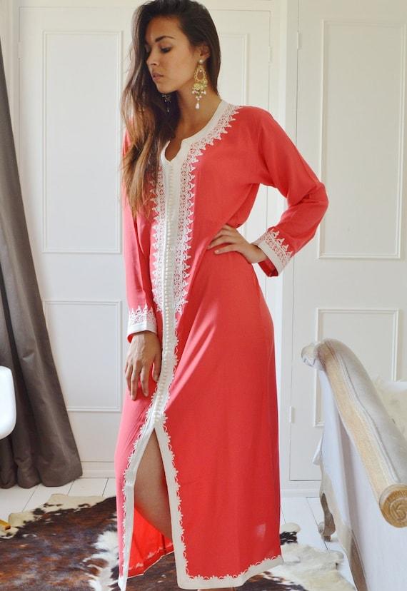 kaftan Caftan Dress Gifts Honeymoon Maternity or Maxi Pink Karima Birthdays resortwear Eid Style Salmon resortwear Ramadan loungewear wtaqUZ5nn7