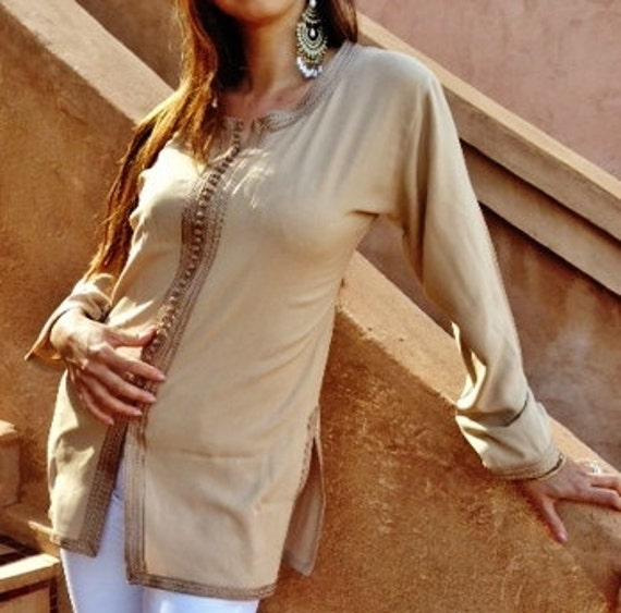 Christmas gift Sara Style Beige Magrib Shirt - perfect as eid gifts, as birthday, honeymoon gifts,anniversary gifts, wedding gifts, bohemian