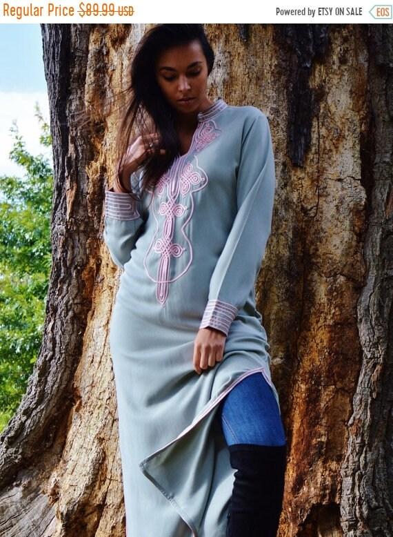 Kaftan Sale 20% Off/ Autumn Winter Grey with Baby Pink Moroccan Caftan Kaftan Aisha-loungewear,resortwear,robe, great for birthdays, Honeymo