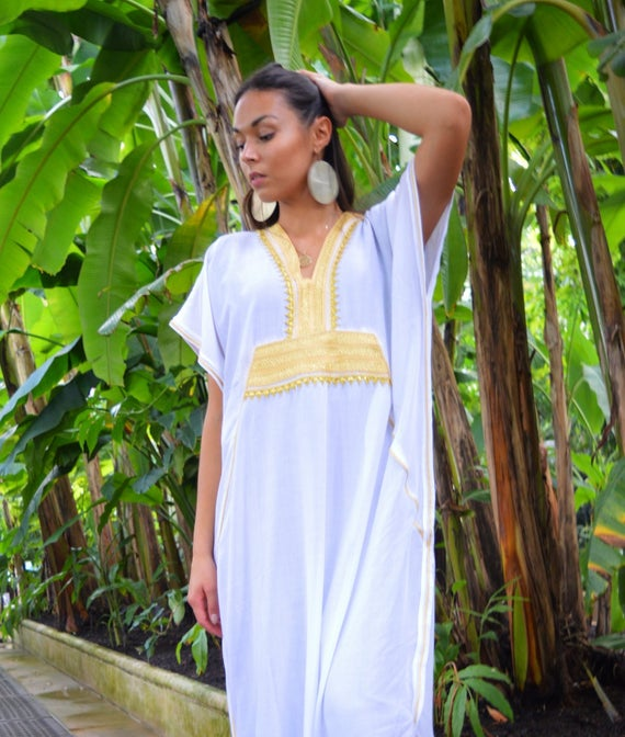 Kaftan, Caftan, White & Gold Marine Marrakech Kaftan, Beach dress, beach cover ups, resortwear, beach kaftan, maternity kaftan, winter dress