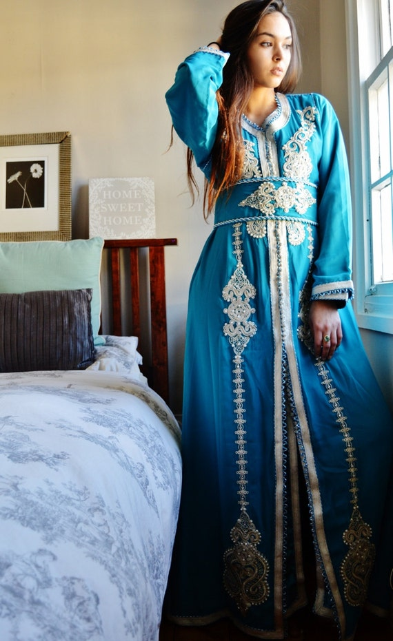 Spring Spring Moroccan Modern Turquoise Blue Embroidery Caftan Kafan-Kalia-moroccan parties, weddings,abbayas, , ,  dress,