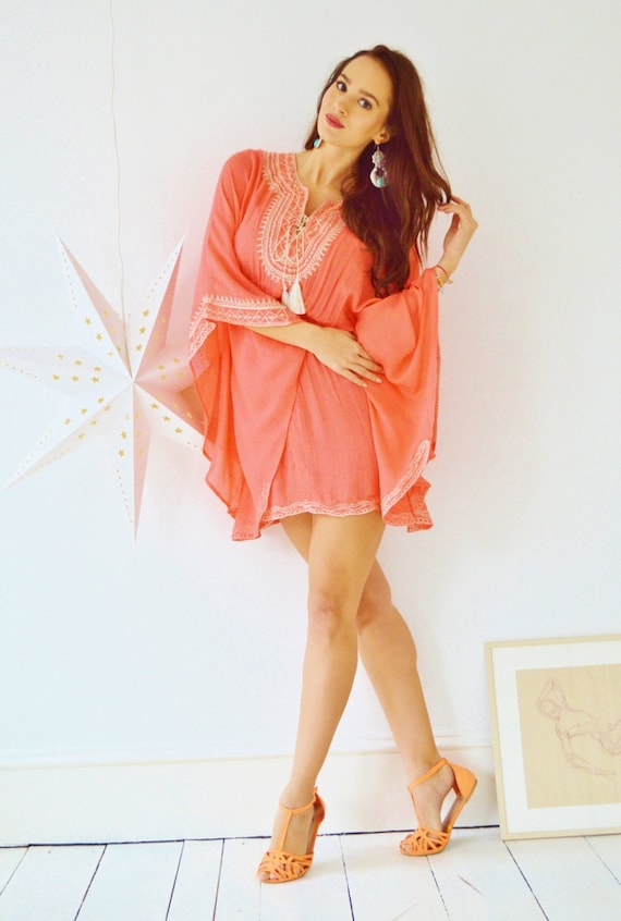 Salmon Pink Embroidery Resort Tunic Cover up-perfect for birthday gifts, holiday wear, beachwear, beach wedding, maternity, shirt, gifts