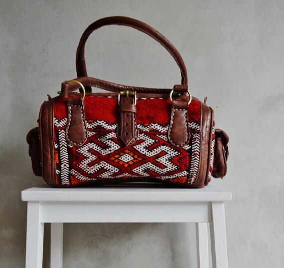 Shoulder Leather Bag- Winter Finds Moroccan Red Kilim Leather Satchel Cross Shoulder Straps Berber style-bag, handbag, purse, gifts, handbag