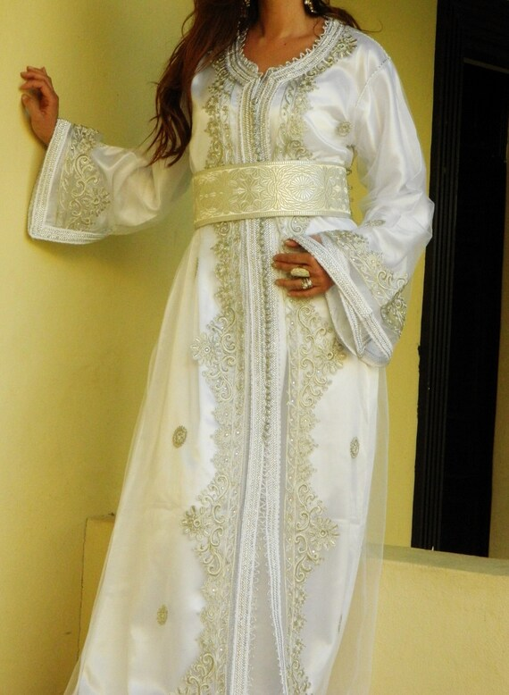 Moroccan Modern White Embroidery Caftan Kafan-Salima- parities, moroccan parties, weddings,abbayas, , , anniversary gift,summer dress,