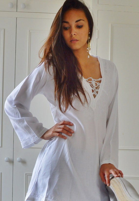 Summer White Tunic Embroidered Dress-Karmia's Syle,  gifts, beach, resort, holiday, bohemian wear, boho, Moroccan, , Eid,,summer dress