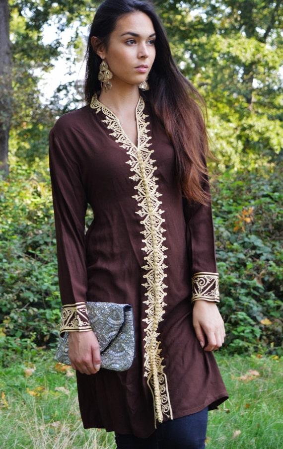 Winter Brown Tunic Dress with Gold Embroidery-Samia- perfect  birthday gifts,resort wear, Valentine's day,  wear, boho dresses,beach kaftan