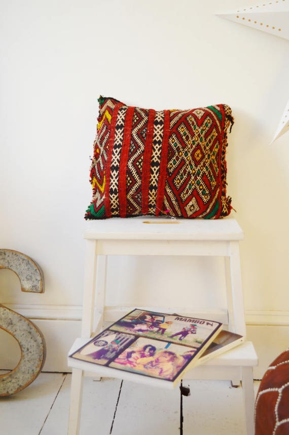 Vintage Moroccan Red Pattern Kilim Berber Carpet Cushions-lumbar, vintage cushions, christmas gifts, gifts, No.20, Ramadan, Eid