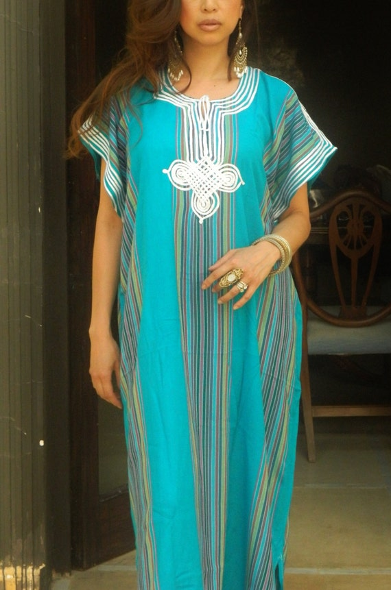 Trend Clothing Gifts-Turqouise Caftan Kaftan loungewear,beachwear,beach cover ups, maternity wear, gifts,  beach weddings, Eid, Summer sale