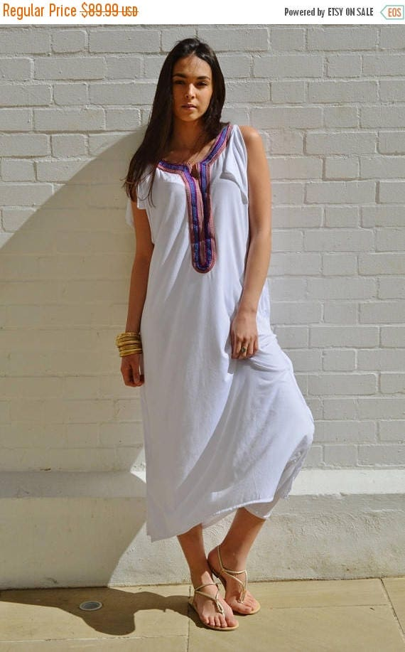 SUMMER 10% OFF // White Tee Boho kaftan caftan-loungewear,resortwear,spa robe, summer dress, maxi dress, beach cover ups, Ramadan, Eid