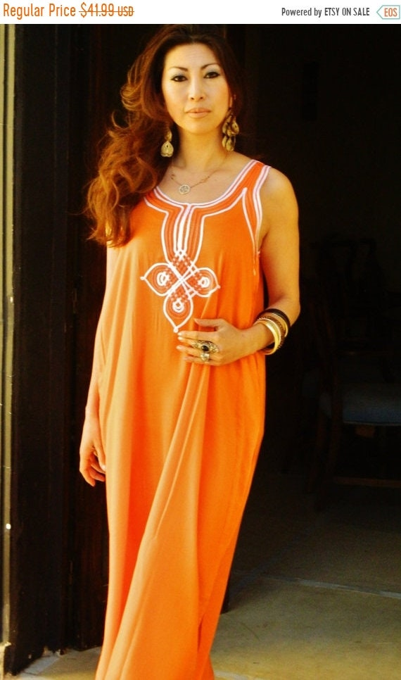 Kaftan Sale 20% Off/ Kaftan Resort Non-Sleeve Orange  Agadir Style-Perfect for resortwear,loungewear, maxi dresses, birthdays, honeymoon, ma