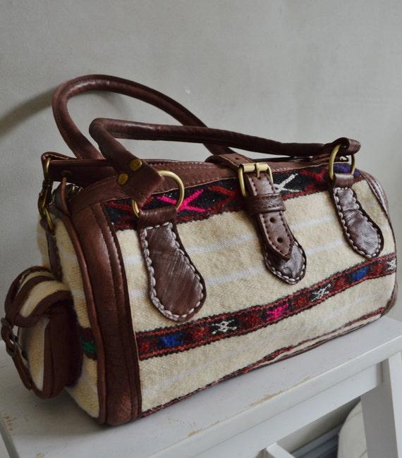 Trendy Winter Finds Berber Design Kilim Leather Satchel Cross Shoulder Straps Berber style-bag, tote, handbag, purse, gifts no. 2