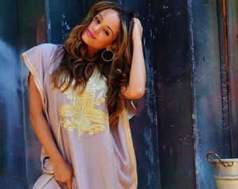 Kaftan Dress Beige with Gold  Marrakech Resort Caftan-beach kaftan, Resort Kaftan, maxi dress, birthdays, winter dress, Ramadan, Eid