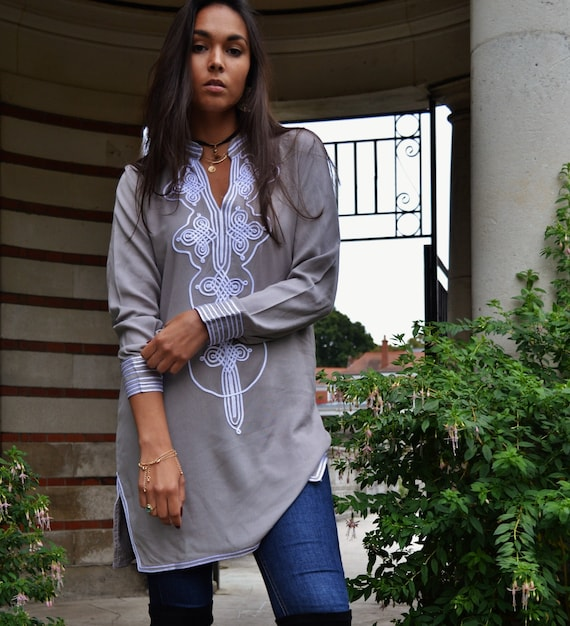 Grey White Aisha Tunic Moroccan Dress- Birthdays , Resort wear, beach wear, bohemian, eid, Ramadan, beach wear, boho, shirt