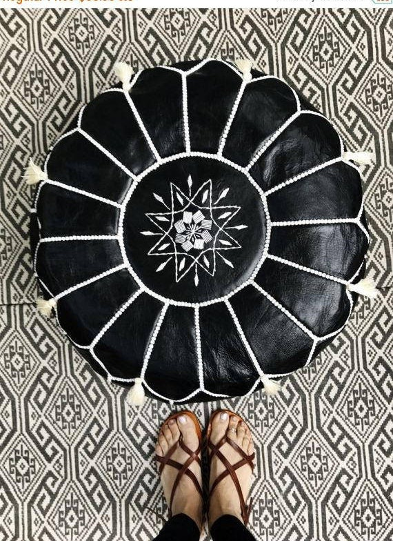 Black with White Stitching Moroccan Leather Pouf with Tassels & Pompoms >>  Home gifts, wedding gifts,birthday gi,summer dress,beach kaftan