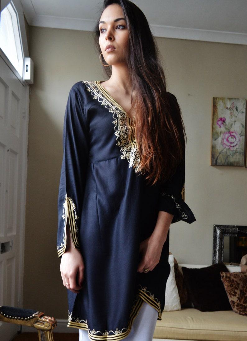 Summer Tunic Trend Clothing Black Gold Embroidery Traditional Marrakech Tunic Dress resortwear,,summer dress loungewear Casual wear