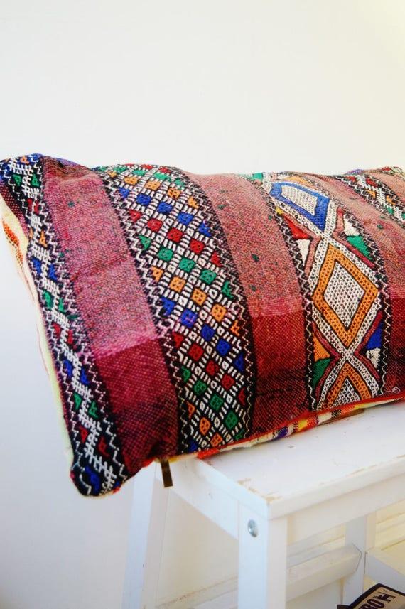 Vintage Moroccan Pattern Kilim Berber Carpet Cushions-lumbar, vintage cushions, christmas gifts, gifts, No.10, Ramadan, Eid