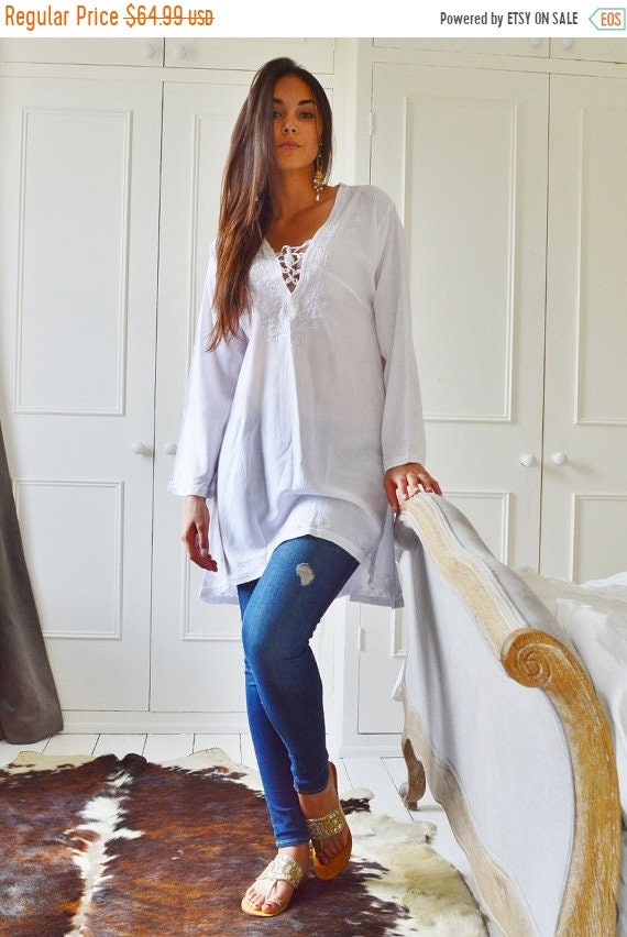 Kaftan Sale 20% Off/ Winter Tunic Trend White Tunic Embroidered Dress-Karmia's Syle, for gifts, beach, resort, holiday, bohemian wear