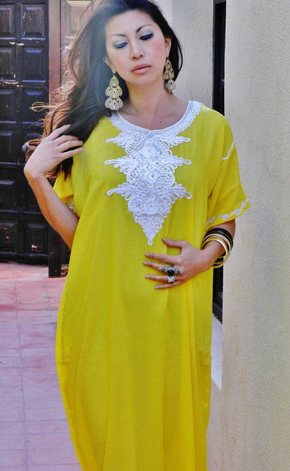 Spring Trendy Finds Yellow Moroccan Beach Cover up lounge kaftan caftan wear,  gift, maternity, wedding , bridesmaid gift, , Eid,Easter