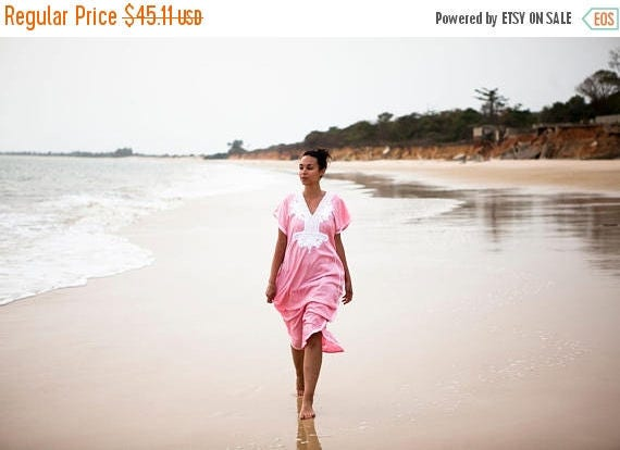 Dress Pink Marrakech Resort Caftan Kaftan - Dress, resortwear,loungewear, maxi dress,birthdays, honeymoon, beach kaftan, Spring dress,Easter