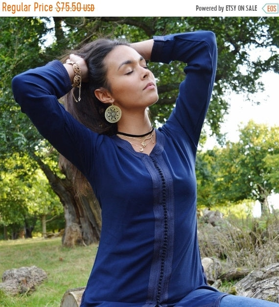 Kaftan Sale / Magrib Style Navy Blue Shirt - for casualwear, loungewear, as birthday, honeymoon gifts for her, resortwear, christmas