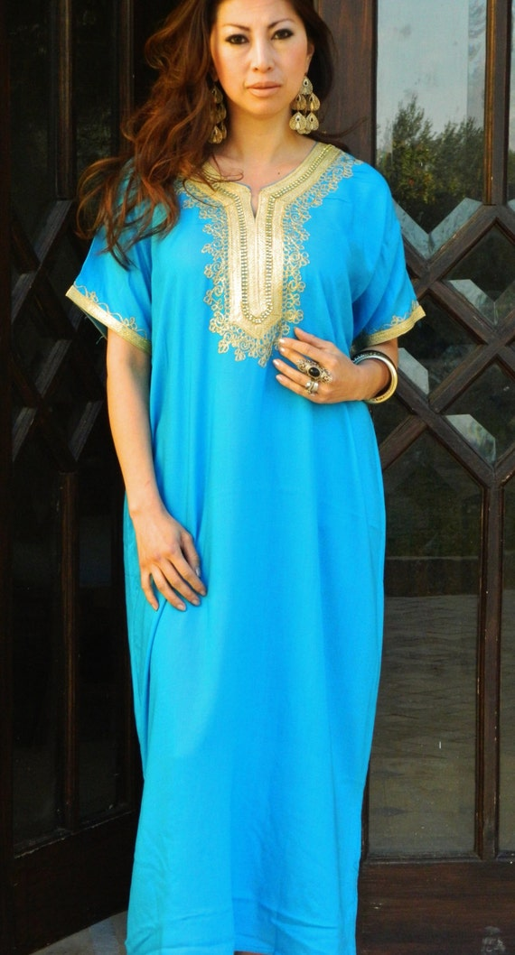 Turquoise Resort Caftan Kaftan Fez-Ramadan, Eid, resortwear,beach coverup,loungewear, maxi dresses, birthdays, honeymoon, maternity gifts
