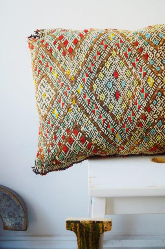 Vintage Moroccan Pattern Kilim Berber Carpet Cushions-lumbar, vintage cushions, christmas gifts, gifts, No.22, Ramadan, Eid