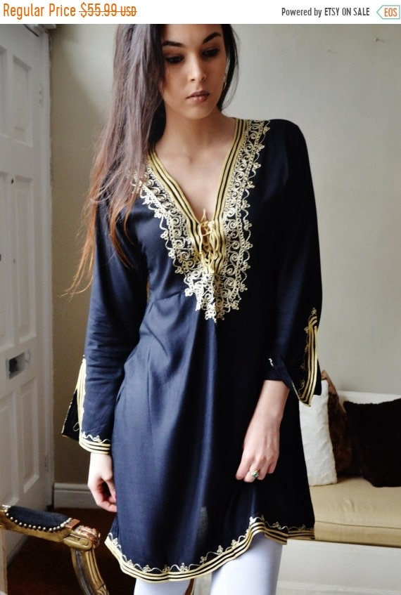 Autumn Kaftan Sale / Autumn Tunic Black with Gold Embroidery Traditional Marrakech Tunic Dress - Casual wear, loungewear, resortwear